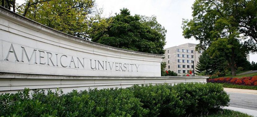 The main sign at the entrance of American University