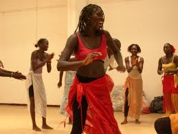 Girls dancing in an African style