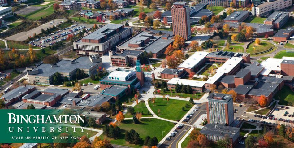 The aerial view of Binghamton University