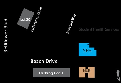 Map showing the location of CSULB Student Health Services