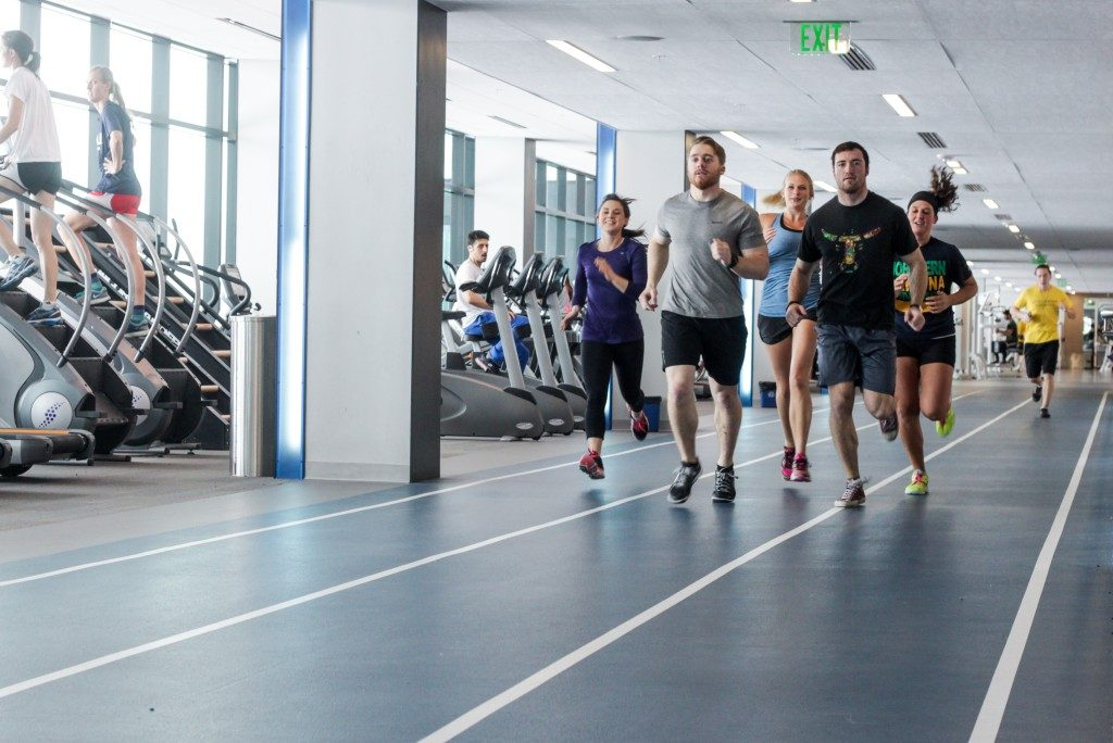 Students training at the campus recreation facility