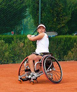 A Tennis player on a wheelchair