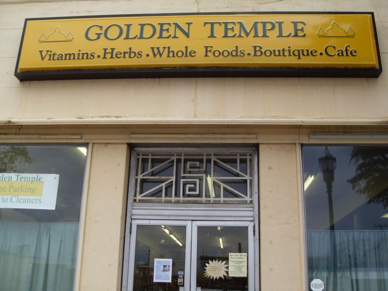 the outside signage of golden temple