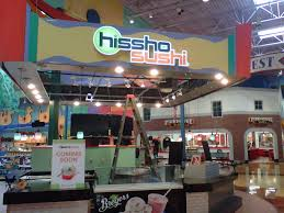 Inside the Hissho Sushi. There are no customers at the time the picture was taken.