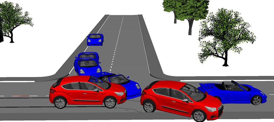 Simulation of an accident at a crossroads