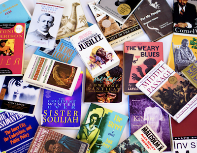 Various African-American books laid out in display