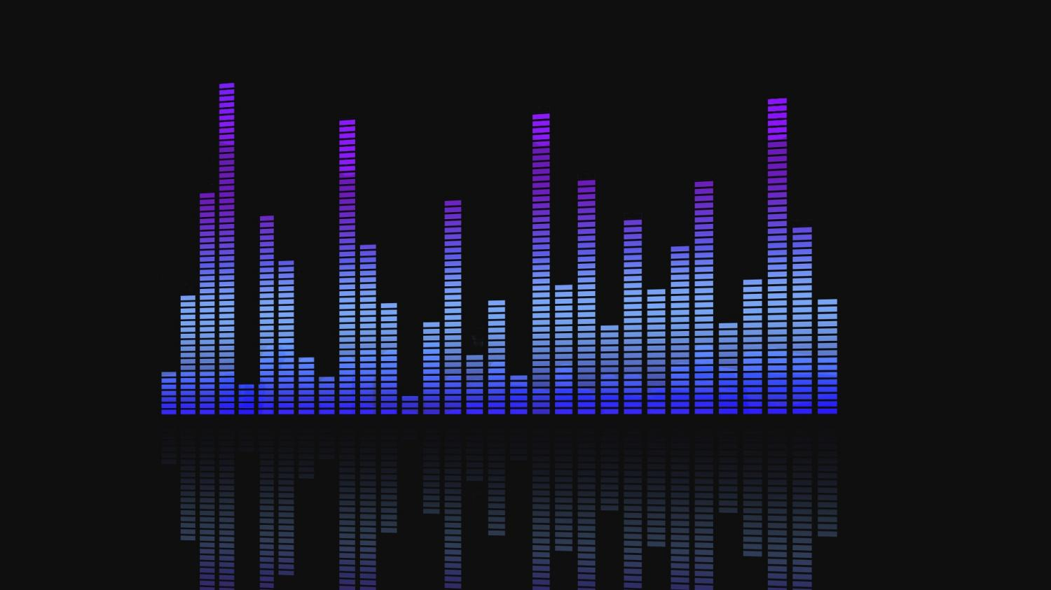 Colorful musical bars on a black background