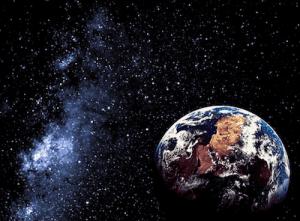 Earth in a starry sky.