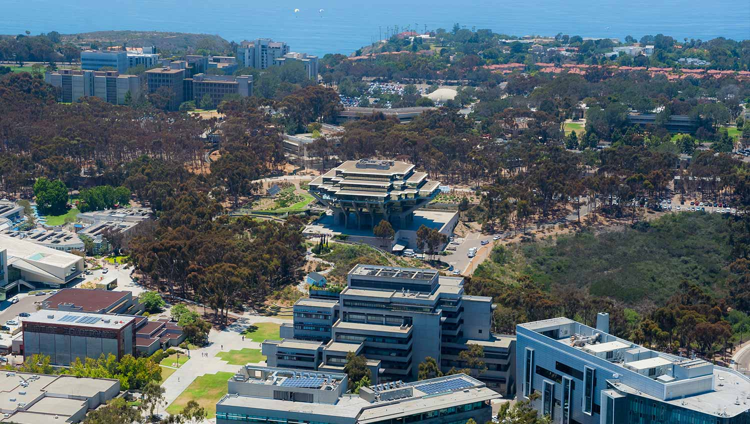 Aerial view over the campus of UC San Diego