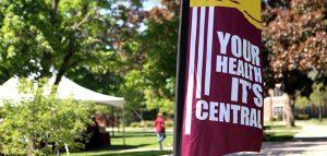 Flag fromthe health and wellness fair at CMU.
