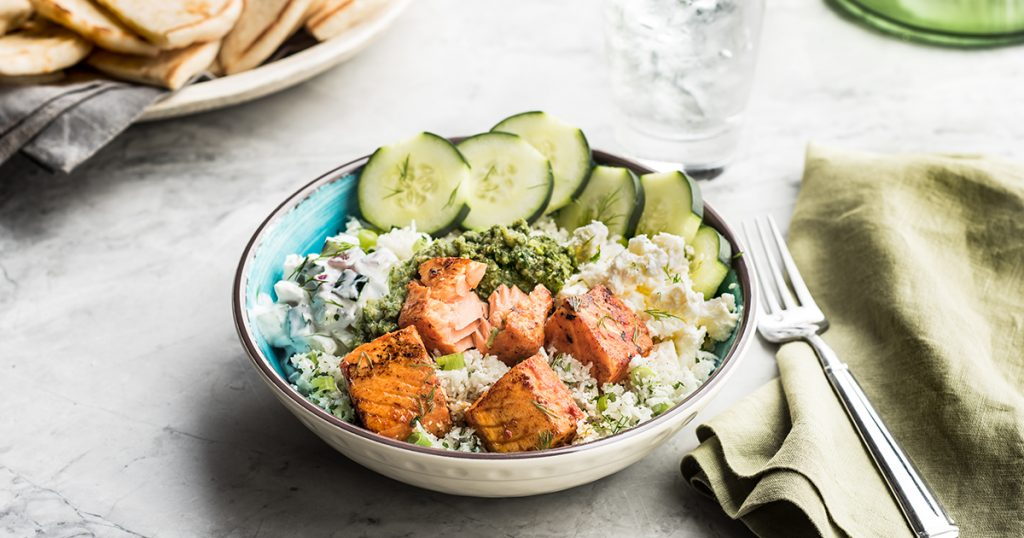 bowl topped with salmon