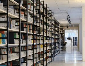 a photo of bookshelves