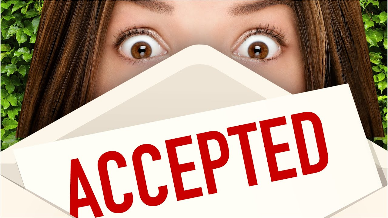 a woman excited to get an acceptance letter