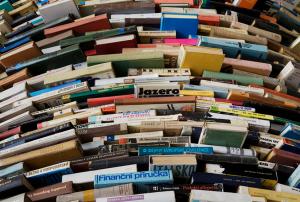 books arranged horizontally