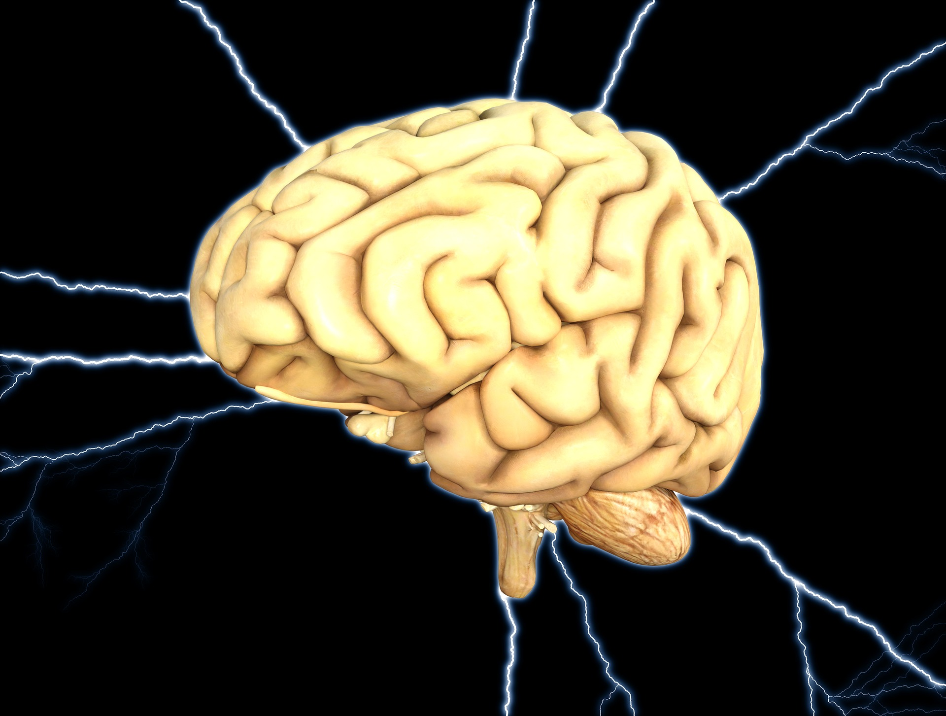 picture of the brain with lightning coming out of it