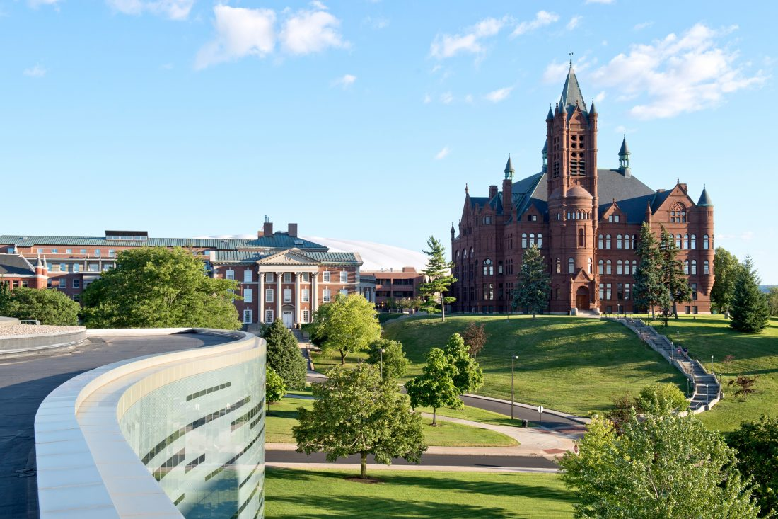 An aerial view of Syracuse University