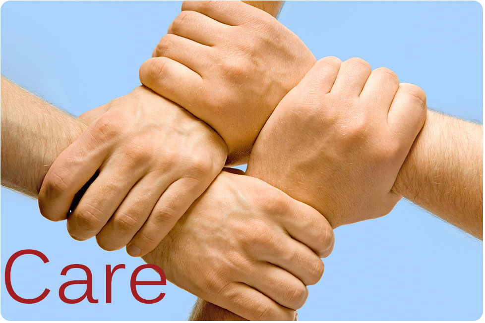 Hand united together in care