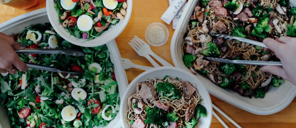 an array of salad and stir fry