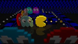 computer graphics of the classic game Pacman