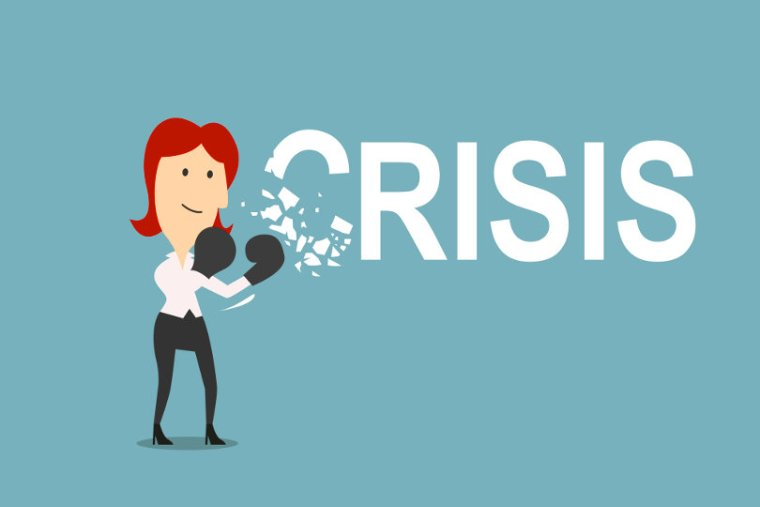 Graphic image depicting woman defeating crisis