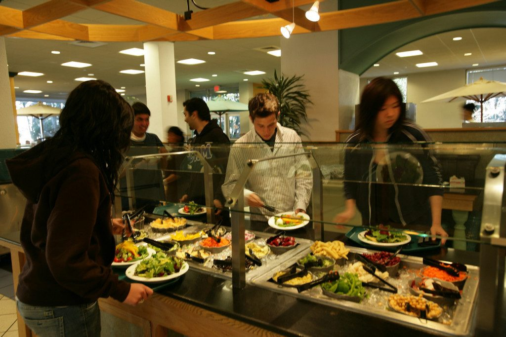 Students taking their food from the campus canteen