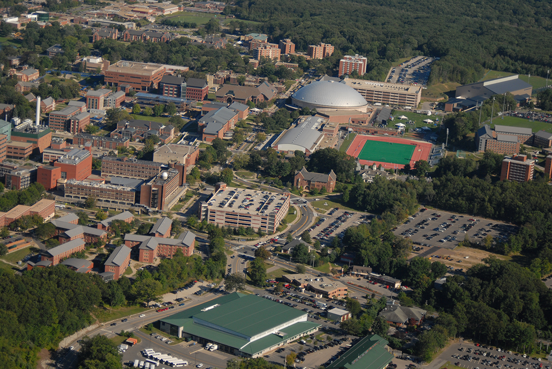 An aerial view of University of Connecticut
