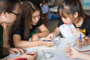 female students writing