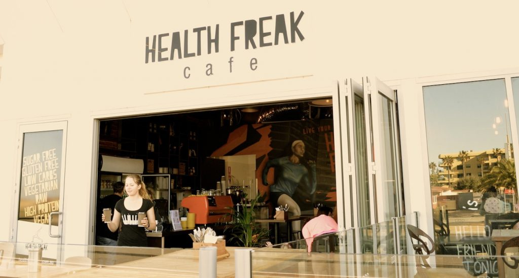 Outside of Health Freak Cafe.