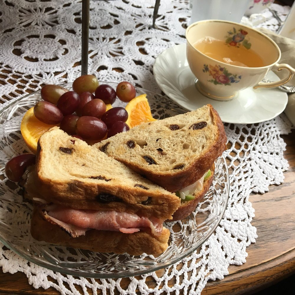 Some sandwiches and tea at restaurant