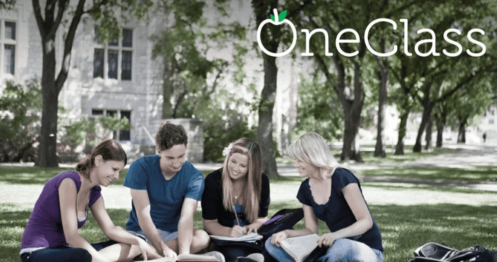Oneclass logo with students and their notes