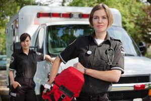 paramedics in front of an ambulance