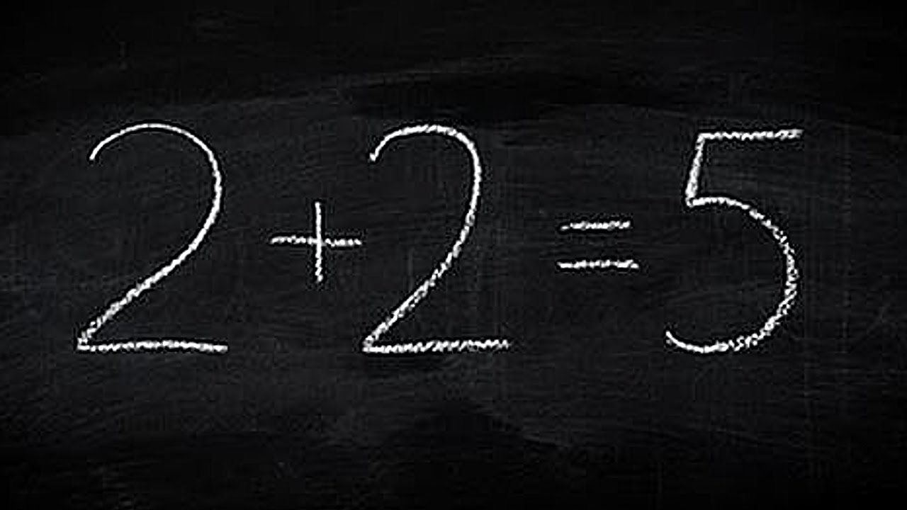 picture of 2 plus 2 equals 5 written in chalk on blackboard