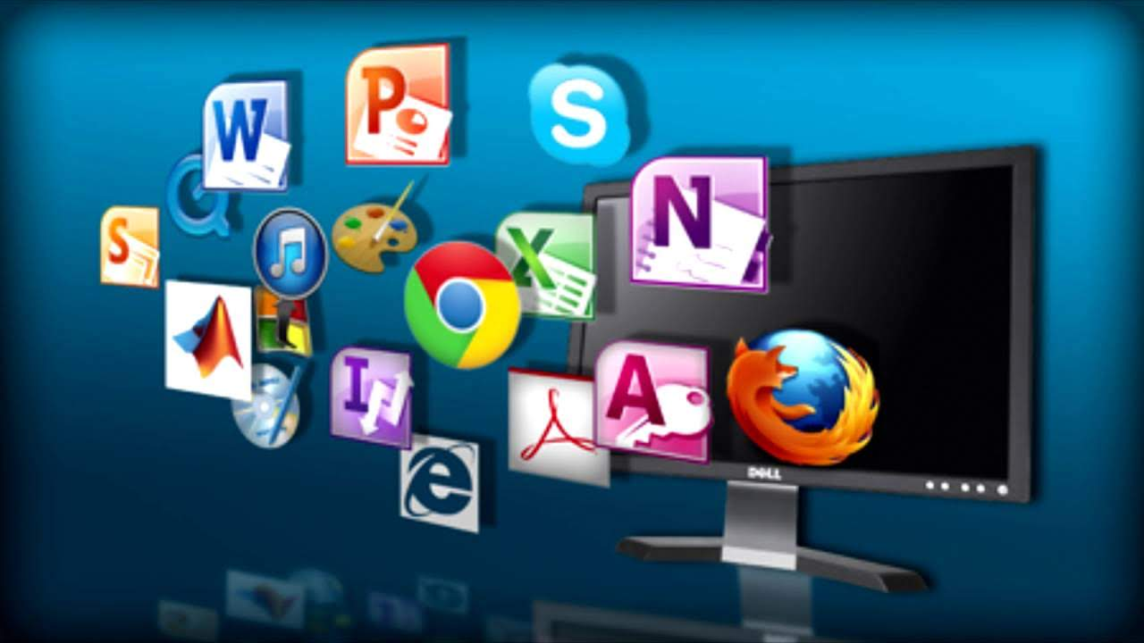 A black pc monitor in a blue background showing a lot of software like Google Chrome, FireFox, Microsoft Access, Microsoft Note, Skype, Paint, Microsoft Word, Microsoft PowerPoint, iTunes, Intenet Explorer, Adobe, etc