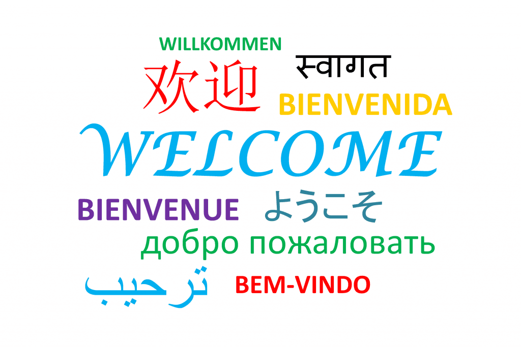 Welcome translated into different languages