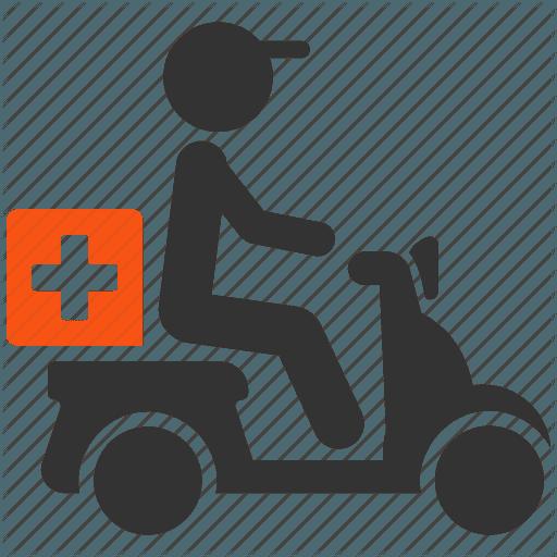 Delivery man delivering medicine icon
