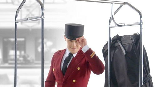 the bellman getting ready to serve the customer