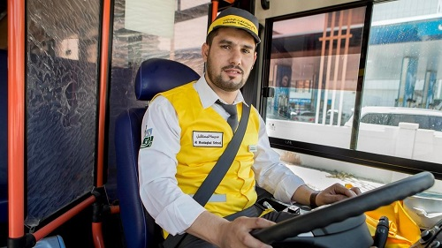 the employee is driving a bus