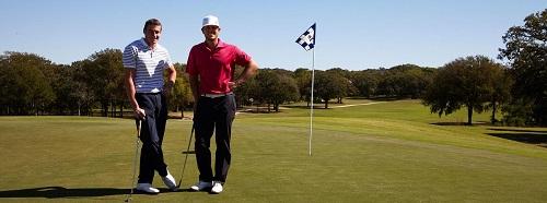 men enjoying their play on a golf course