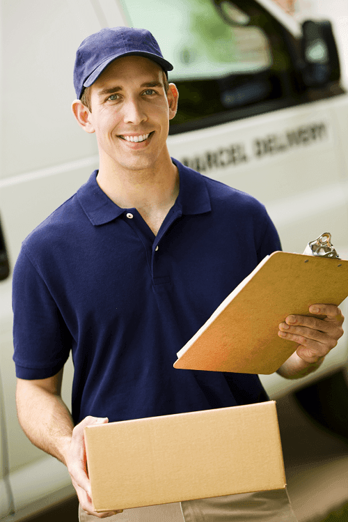 the man is delivering parts' box to the customer