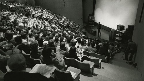 students attending English lecture class