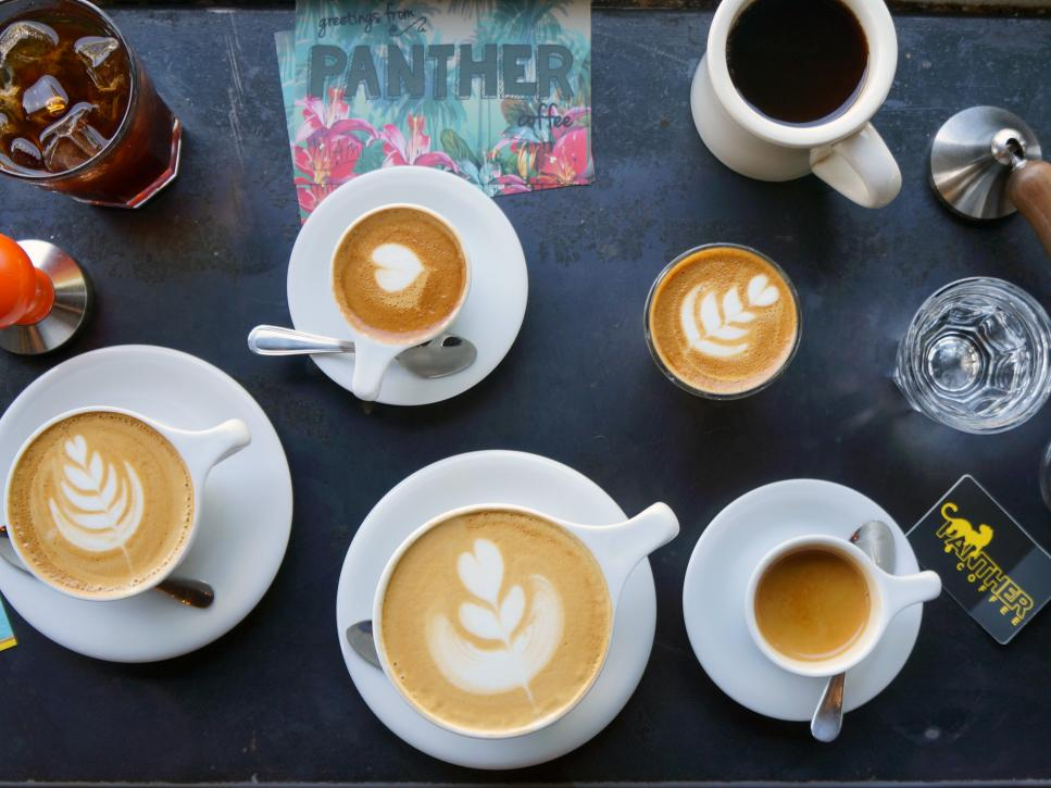 Image of lattes and coffee.
