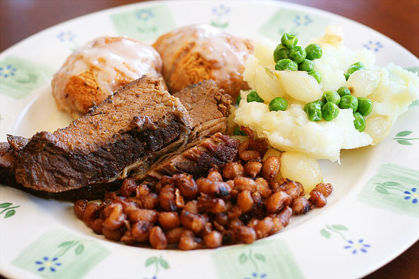 delicious food platter or peas and beef