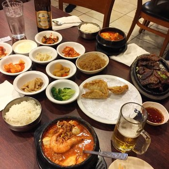 A table with various Asia cuisines at Seoul Soon Dubu