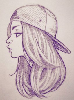 Girl pencil sketch picture