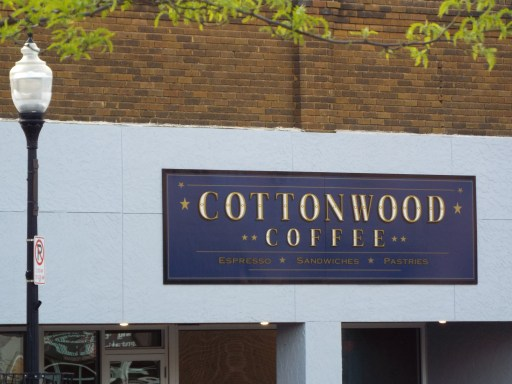 front sign board of Cottonwoof coffee