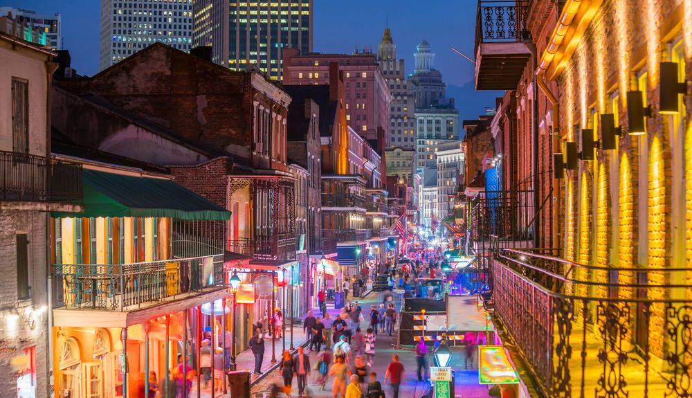 A view of the vibrant New Orleans' nightlife.