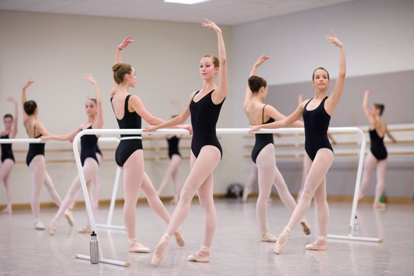 A ballet class at barres