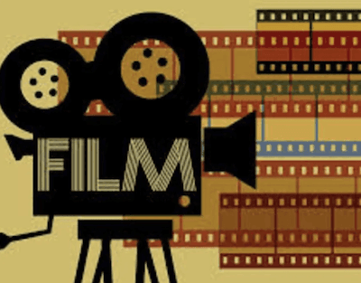 Graphic design of camera and film in the background