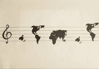 Picture of continents on a music bar, as if they were musical notes