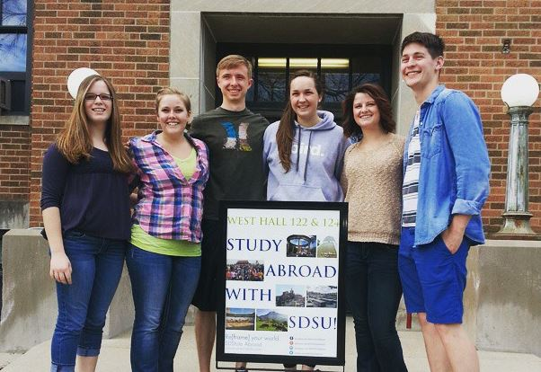 This image shows campus ambassadors who have just come back from study abroad.